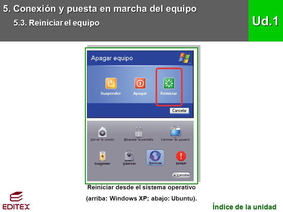 Reiniciar desde el sistema operativo (arriba: Windows XP; abajo: Ubuntu).