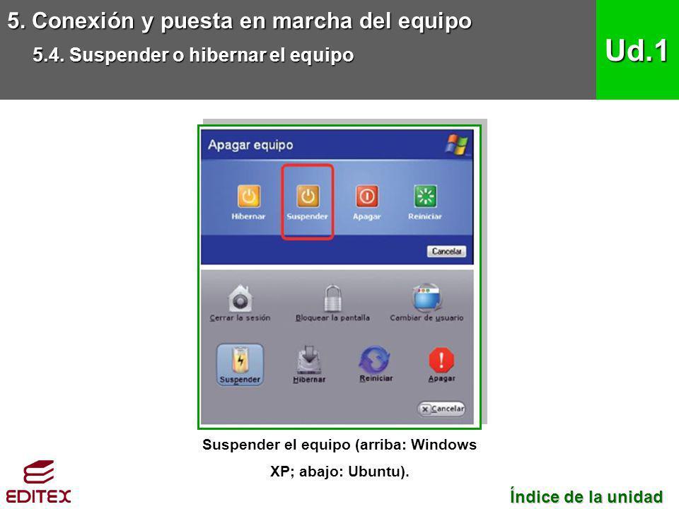Suspender el equipo (arriba: Windows XP; abajo: Ubuntu).