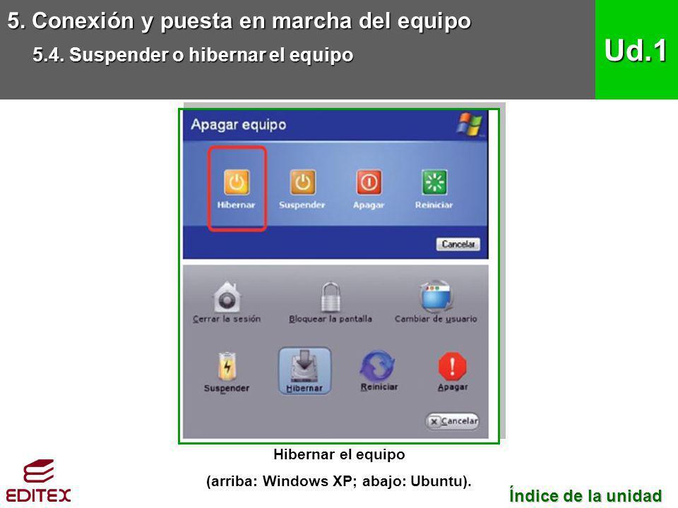 Hibernar el equipo (arriba: Windows XP; abajo: Ubuntu).