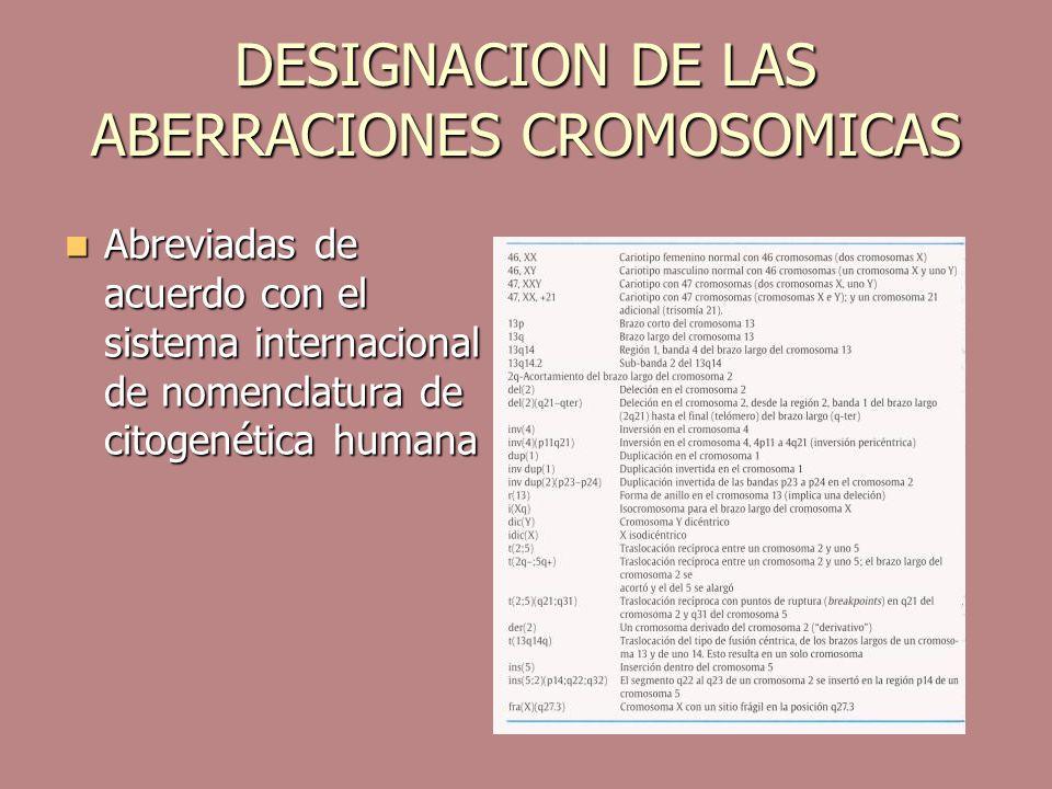 DESIGNACION DE LAS ABERRACIONES CROMOSOMICAS Abreviadas de acuerdo con el sistema internacional de nomenclatura de citogenética humana Abreviadas de a