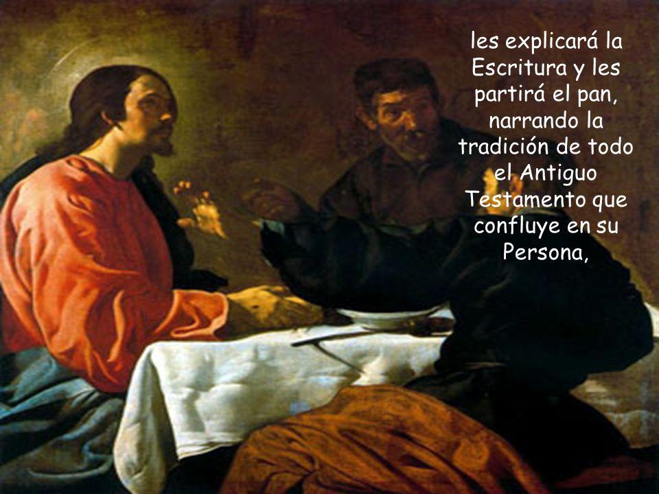 Y entonces interviene Jesús en una ejemplar actitud de acompañar y enseñar a esta pareja de alejados: