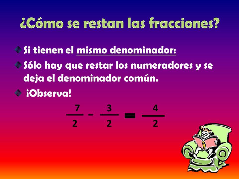 Si tienen el mismo denominador: Sólo hay que restar los numeradores y se deja el denominador común. ¡Observa! 7 3 4 2 2 2