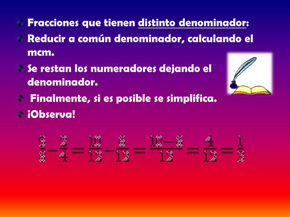 Fracciones que tienen distinto denominador: Reducir a común denominador, calculando el mcm. Se restan los numeradores dejando el denominador. Finalmen