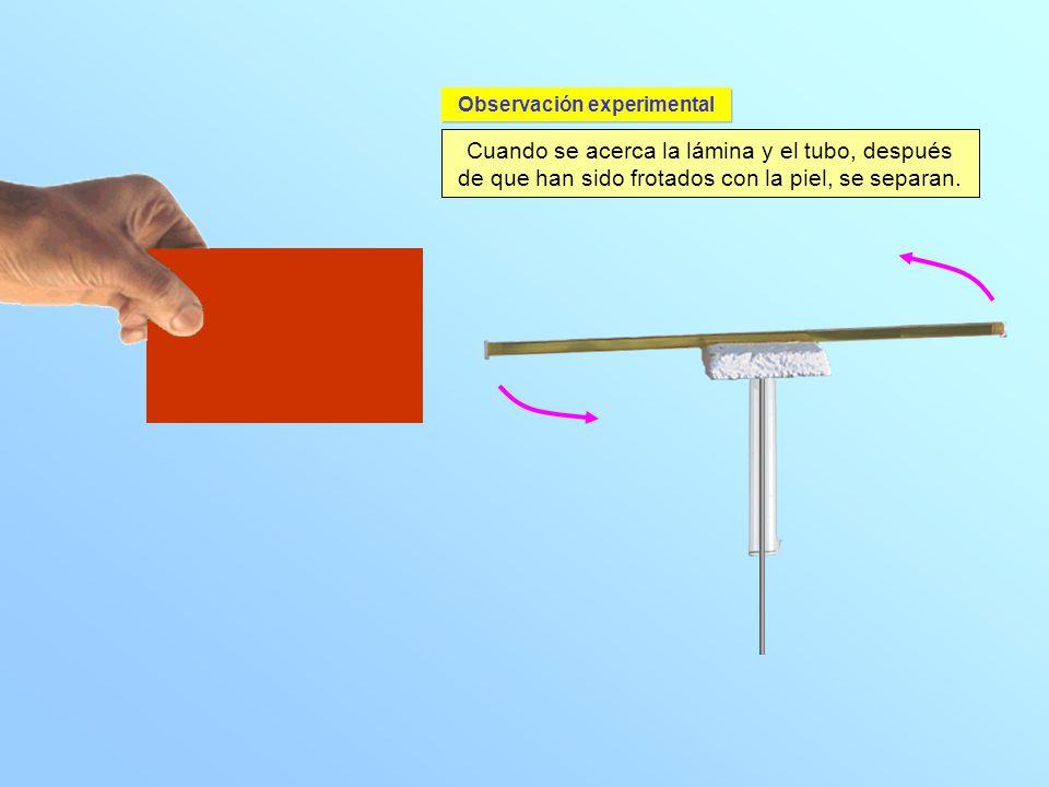 Cuando se acerca la lámina y el tubo, después de que han sido frotados con la piel, se separan. Observación experimental