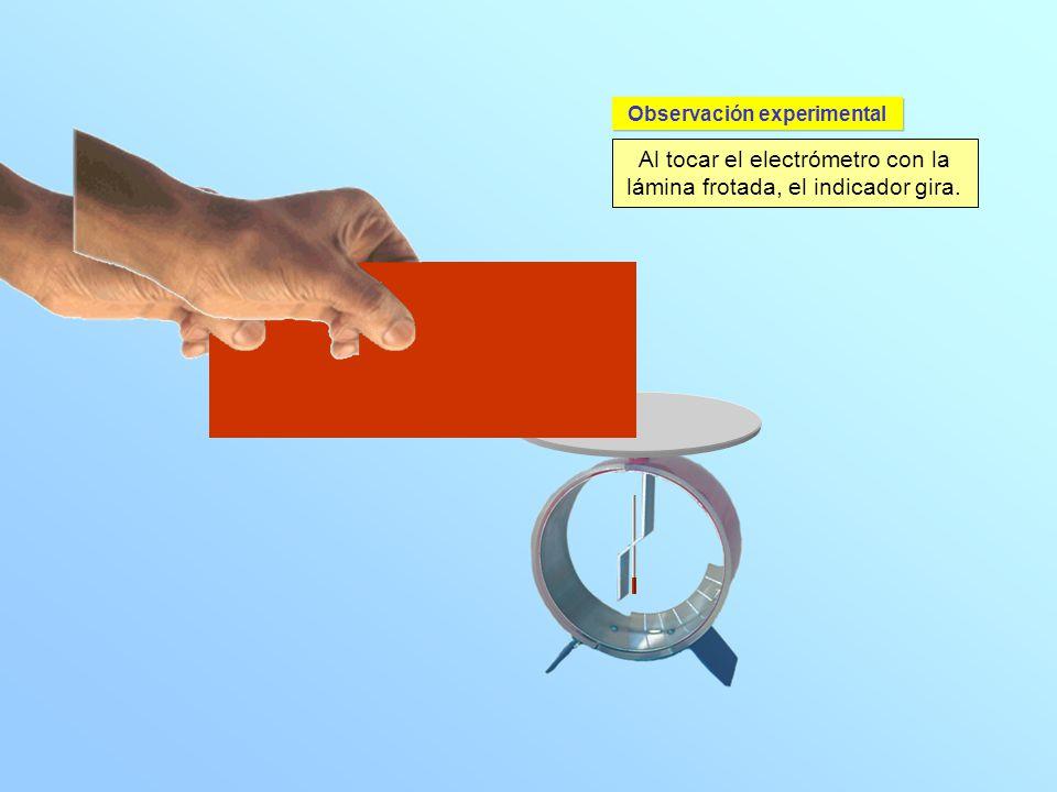 Al tocar el electrómetro con la lámina frotada, el indicador gira. Observación experimental