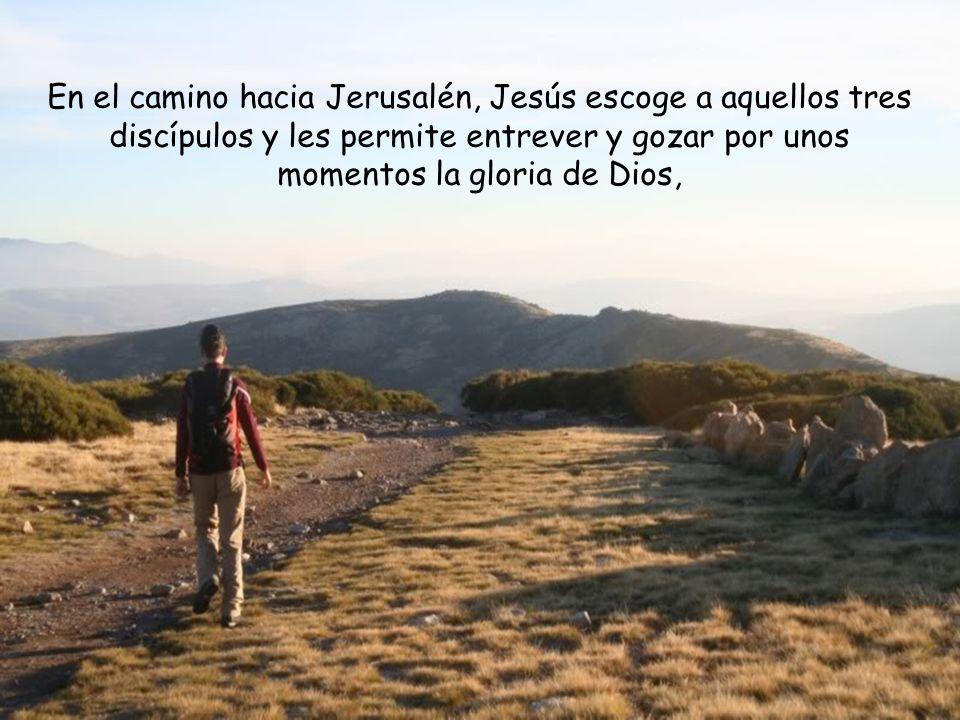 En el camino hacia Jerusalén, Jesús escoge a aquellos tres discípulos y les permite entrever y gozar por unos momentos la gloria de Dios,