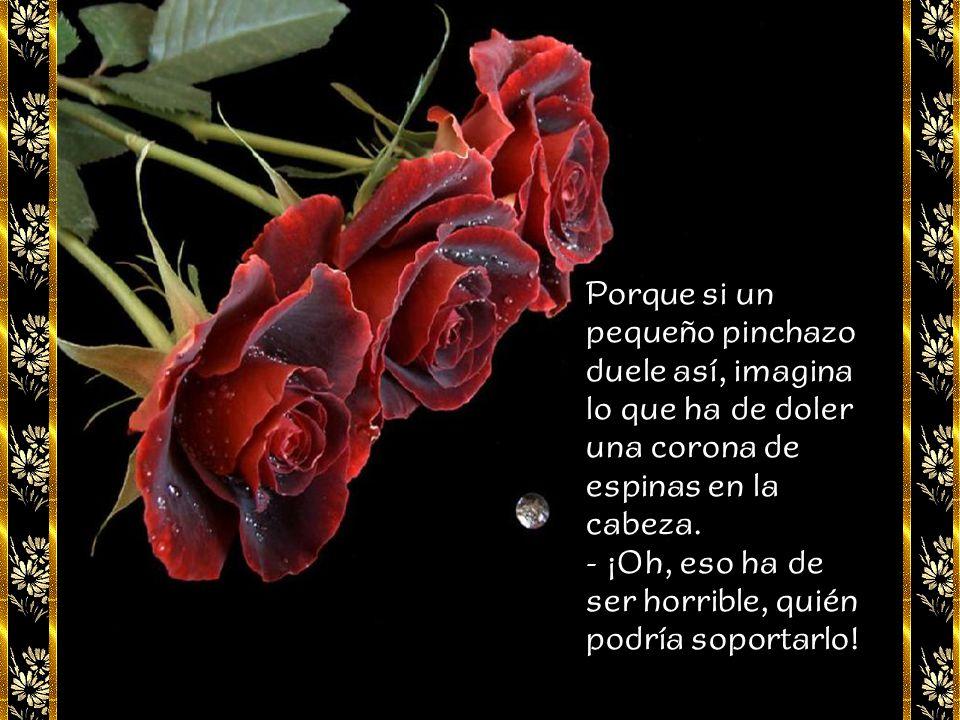 - Te lo diré. Las rosas tienen espinas, para que al tocarlas nos pinchemos los dedos... - ¿Pero eso para qué? - replicó la niña. - Para que nunca olvi