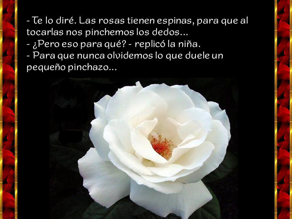 - Te lo diré.Las rosas tienen espinas, para que al tocarlas nos pinchemos los dedos...