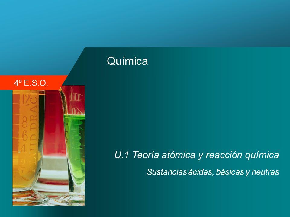 4º E.S.O. Química U.1 Teoría atómica y reacción química Sustancias ácidas, básicas y neutras