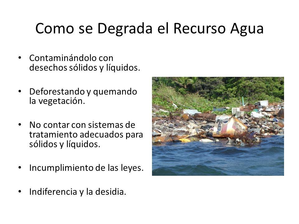 Como se Degrada el Recurso Agua Contaminándolo con desechos sólidos y líquidos. Deforestando y quemando la vegetación. No contar con sistemas de trata