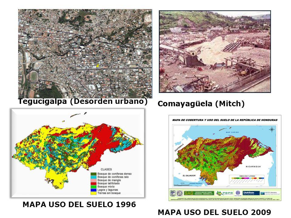 Tegucigalpa Comayagüela MAPA USO DEL SUELO 1996La Lima Tegucigalpa (Desorden urbano) Comayagüela (Mitch) MAPA USO DEL SUELO 2009