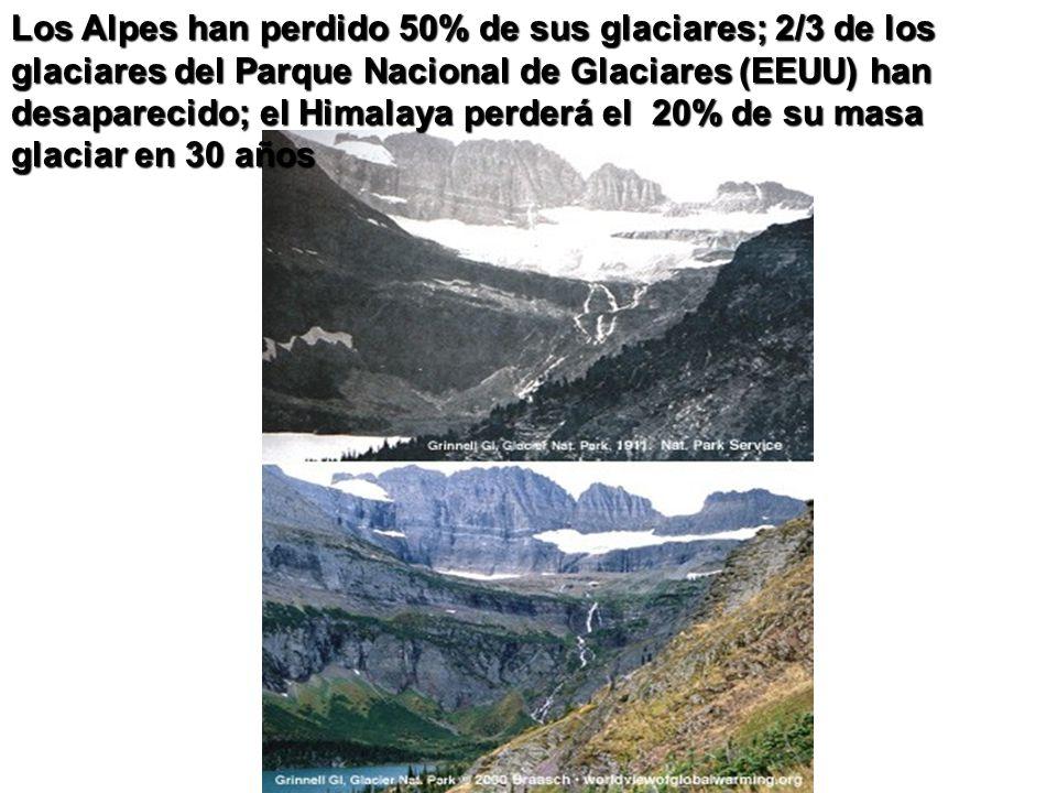 Los Alpes han perdido 50% de sus glaciares; 2/3 de los glaciares del Parque Nacional de Glaciares (EEUU) han desaparecido; el Himalaya perderá el 20%