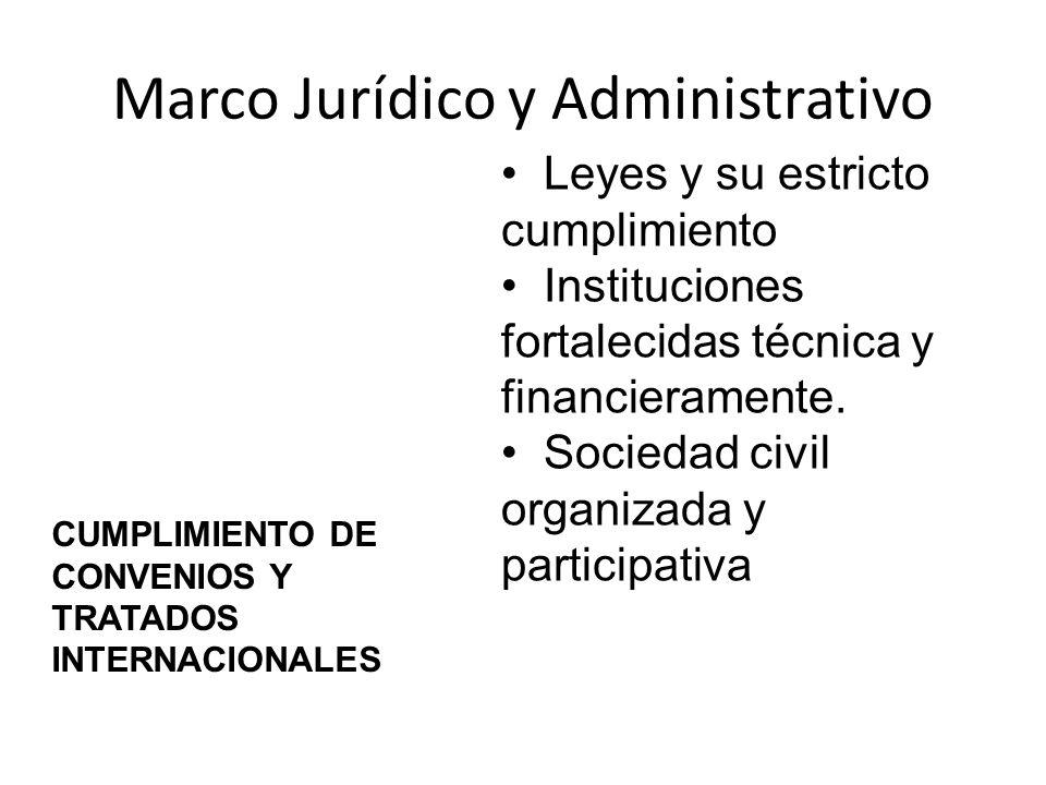 Marco Jurídico y Administrativo Leyes y su estricto cumplimiento Instituciones fortalecidas técnica y financieramente. Sociedad civil organizada y par