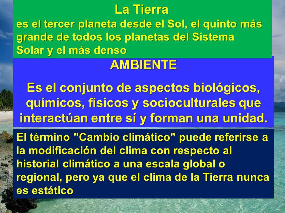 AMBIENTE Es el conjunto de aspectos biológicos, químicos, físicos y socioculturales que interactúan entre sí y forman una unidad. La Tierra La Tierra