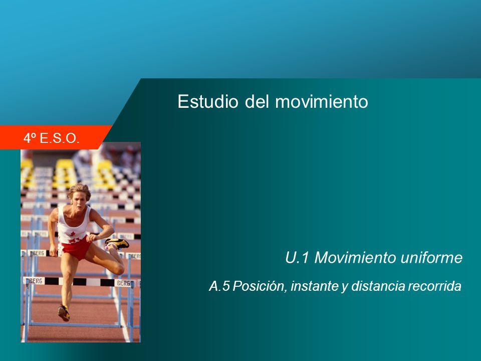 4º E.S.O. Estudio del movimiento U.1 Movimiento uniforme A.5 Posición, instante y distancia recorrida