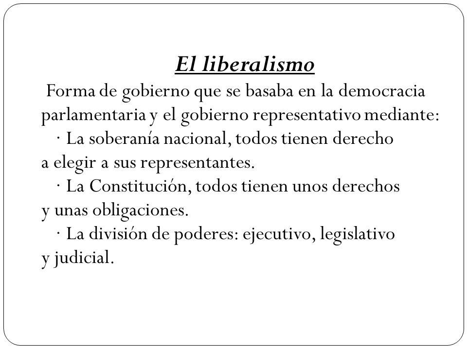 El liberalismo Forma de gobierno que se basaba en la democracia parlamentaria y el gobierno representativo mediante: · La soberanía nacional, todos tienen derecho a elegir a sus representantes.