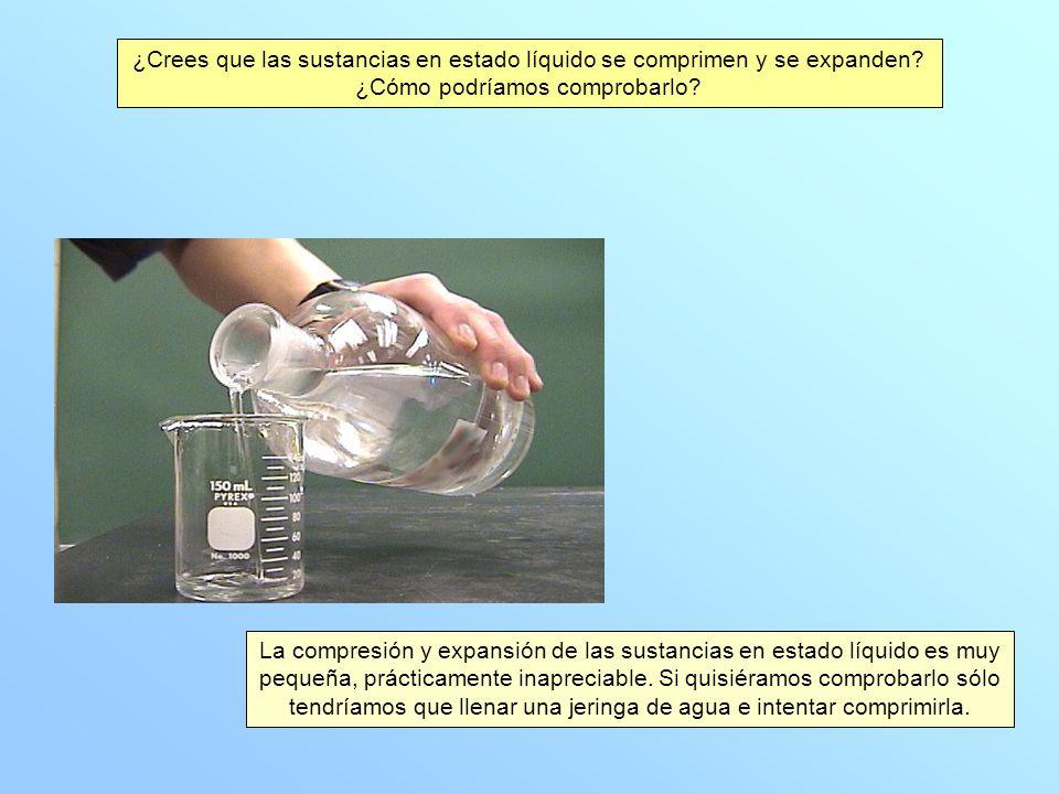 ¿Crees que las sustancias en estado líquido se comprimen y se expanden? ¿Cómo podríamos comprobarlo? La compresión y expansión de las sustancias en es