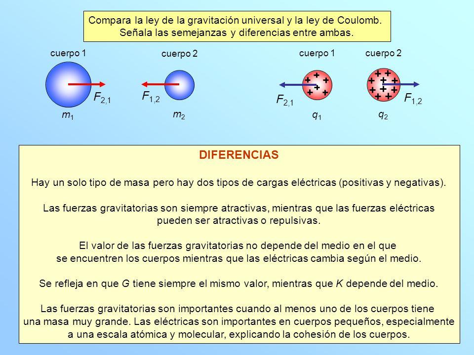 m1m1 m2m2 F 2,1 F 1,2 cuerpo 1 cuerpo 2 DIFERENCIAS Hay un solo tipo de masa pero hay dos tipos de cargas eléctricas (positivas y negativas). Las fuer