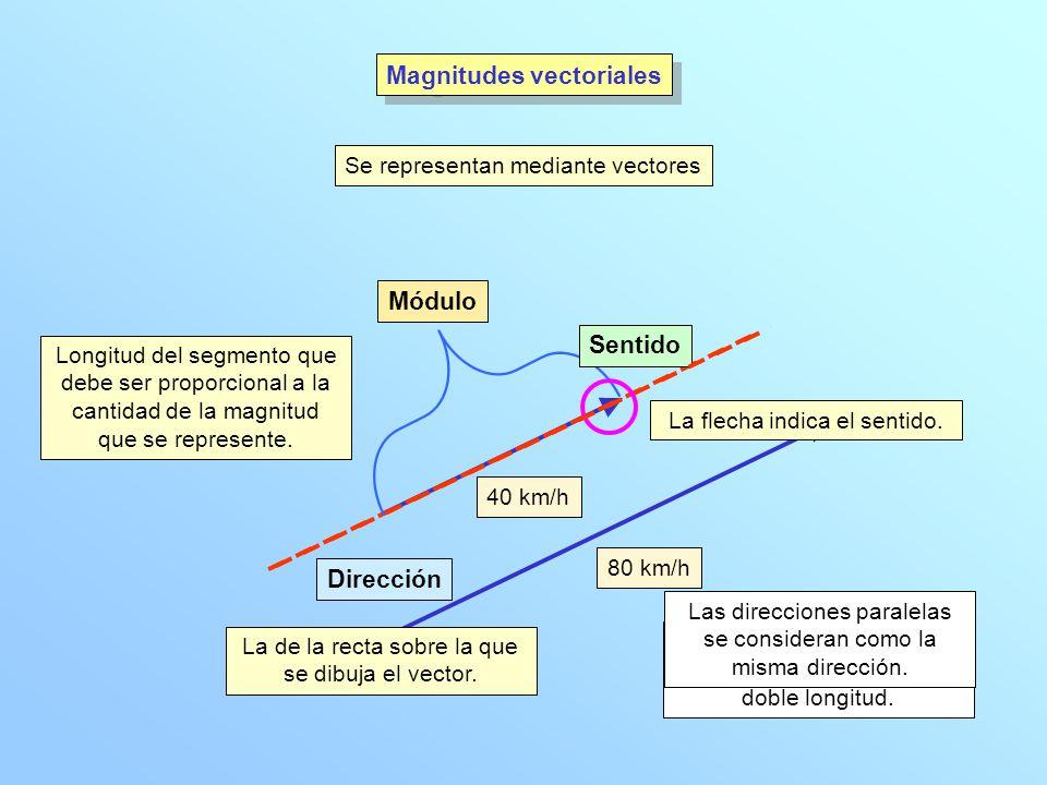 Magnitudes vectoriales Se representan mediante vectores Módulo Dirección Sentido Longitud del segmento que debe ser proporcional a la cantidad de la magnitud que se represente.