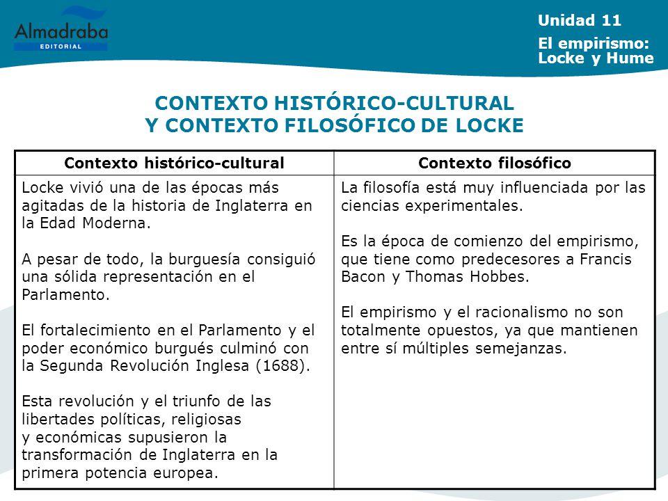 CONTEXTO HISTÓRICO-CULTURAL Y CONTEXTO FILOSÓFICO DE LOCKE Unidad 11 El empirismo: Locke y Hume Contexto histórico-culturalContexto filosófico Locke v
