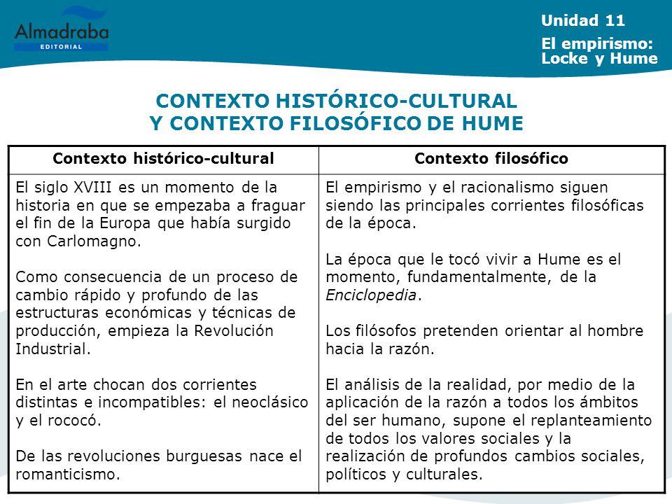 CONTEXTO HISTÓRICO-CULTURAL Y CONTEXTO FILOSÓFICO DE HUME Unidad 11 El empirismo: Locke y Hume Contexto histórico-culturalContexto filosófico El siglo