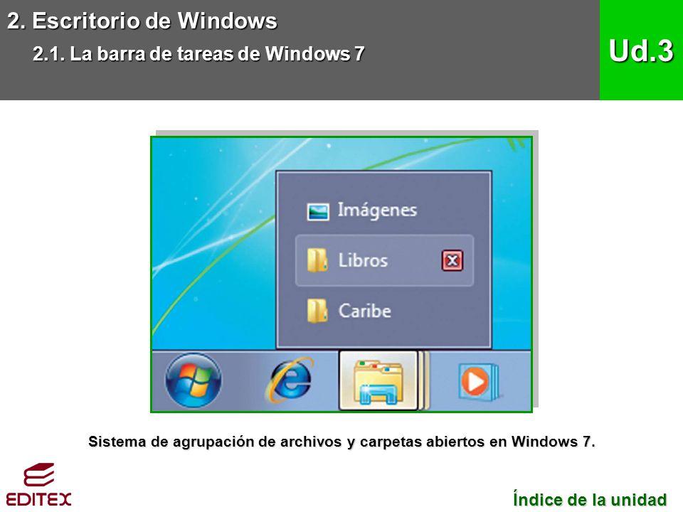 2. Escritorio de Windows 2.1. La barra de tareas de Windows 7 Ud.3 Índice de la unidad Índice de la unidad Sistema de agrupación de archivos y carpeta