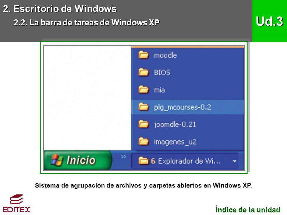 2. Escritorio de Windows 2.2. La barra de tareas de Windows XP Ud.3 Índice de la unidad Índice de la unidad Sistema de agrupación de archivos y carpet
