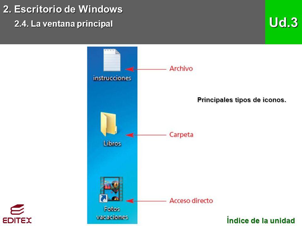 2. Escritorio de Windows 2.4. La ventana principal Ud.3 Índice de la unidad Índice de la unidad Principales tipos de iconos.