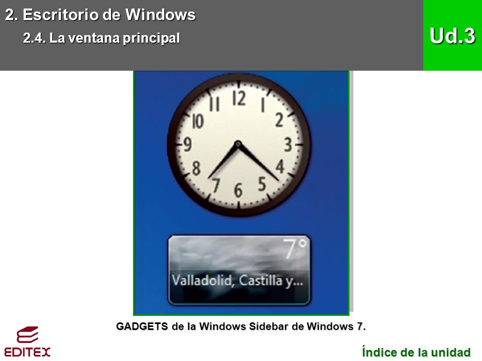 2. Escritorio de Windows 2.4. La ventana principal Ud.3 Índice de la unidad Índice de la unidad GADGETS de la Windows Sidebar de Windows 7.