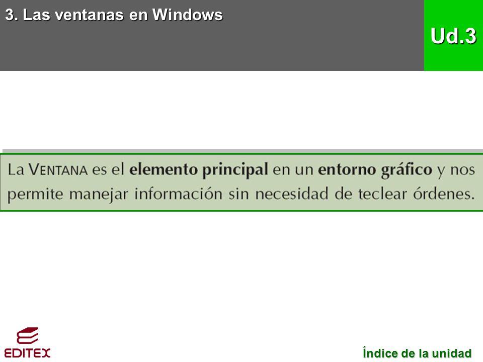 3. Las ventanas en Windows Ud.3 Índice de la unidad Índice de la unidad