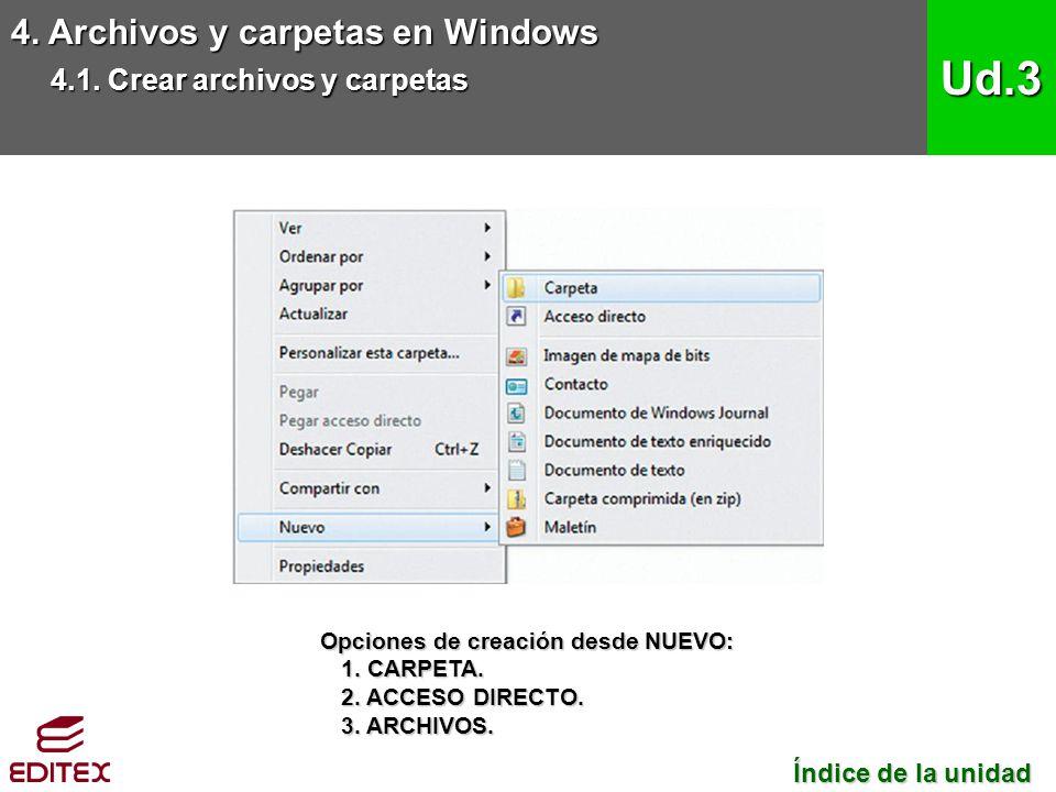 4. Archivos y carpetas en Windows 4.1. Crear archivos y carpetas Ud.3 Índice de la unidad Índice de la unidad Opciones de creación desde NUEVO: 1. CAR