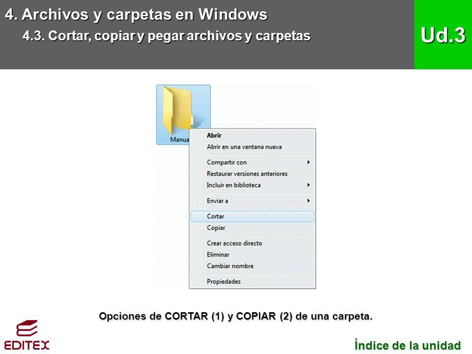 4. Archivos y carpetas en Windows 4.3. Cortar, copiar y pegar archivos y carpetas Ud.3 Índice de la unidad Índice de la unidad Opciones de CORTAR (1)
