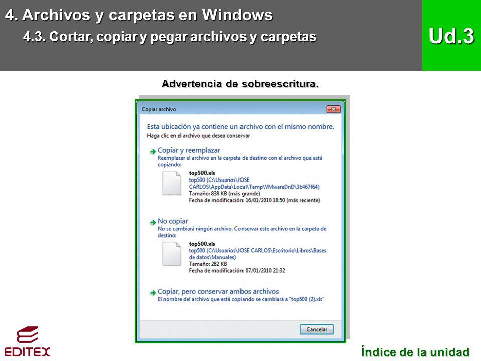 4. Archivos y carpetas en Windows 4.3. Cortar, copiar y pegar archivos y carpetas Ud.3 Índice de la unidad Índice de la unidad Advertencia de sobreesc