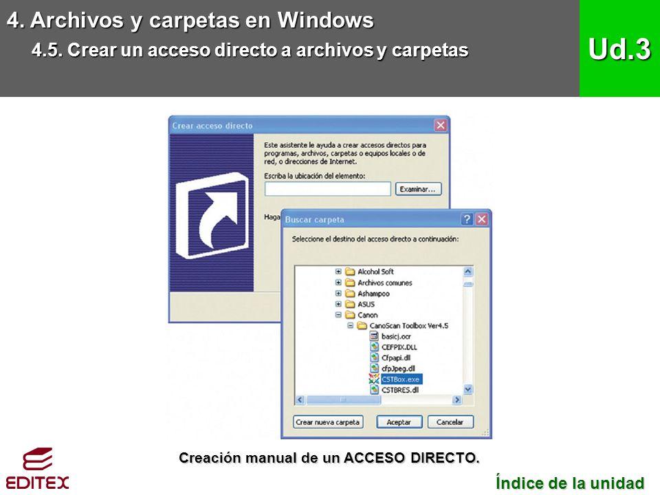 4. Archivos y carpetas en Windows 4.5. Crear un acceso directo a archivos y carpetas Ud.3 Índice de la unidad Índice de la unidad Creación manual de u