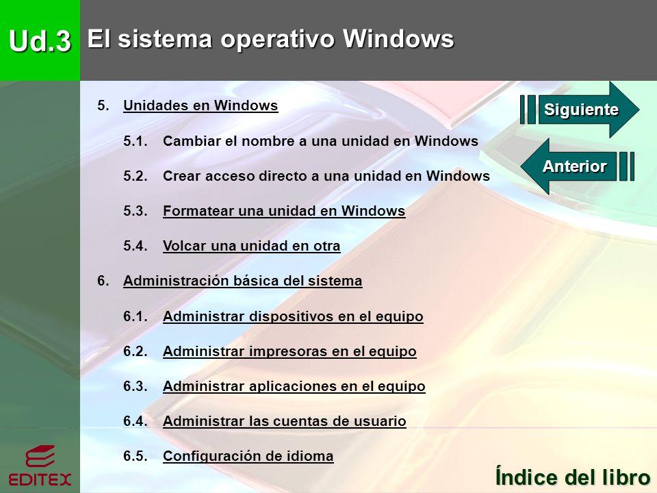 Ud.3 El sistema operativo Windows Índice del libro Índice del libro 5. Unidades en WindowsUnidades en Windows 5.1. Cambiar el nombre a una unidad en W