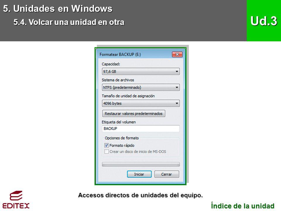 5. Unidades en Windows 5.4. Volcar una unidad en otra Ud.3 Índice de la unidad Índice de la unidad Accesos directos de unidades del equipo.