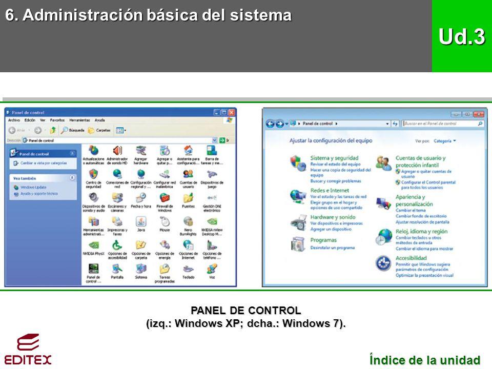 6. Administración básica del sistema Ud.3 Índice de la unidad Índice de la unidad PANEL DE CONTROL (izq.: Windows XP; dcha.: Windows 7).