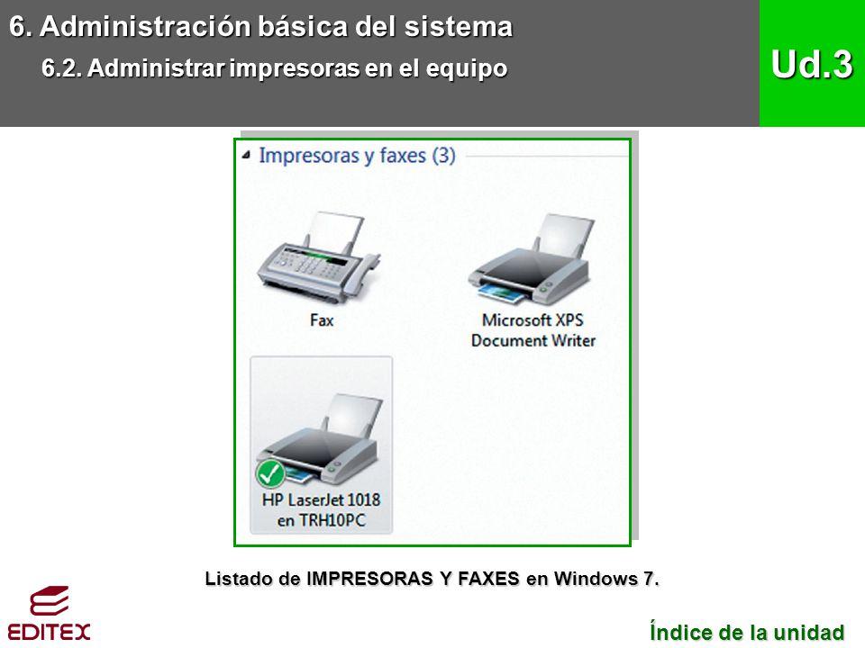 6. Administración básica del sistema 6.2. Administrar impresoras en el equipo Ud.3 Índice de la unidad Índice de la unidad Listado de IMPRESORAS Y FAX