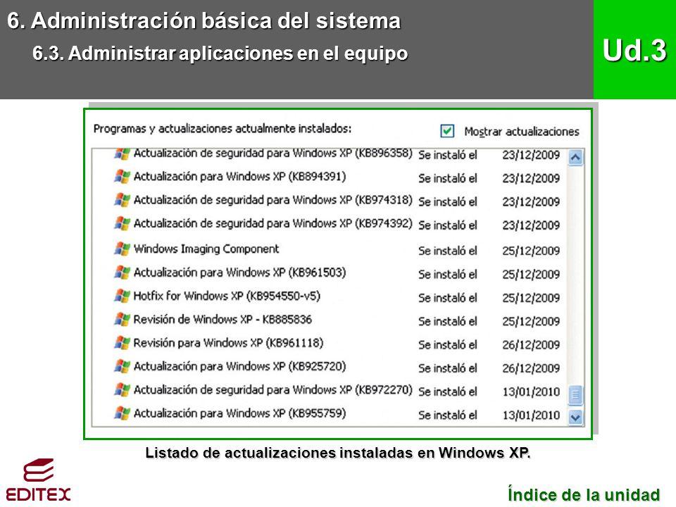 6. Administración básica del sistema 6.3. Administrar aplicaciones en el equipo Ud.3 Índice de la unidad Índice de la unidad Listado de actualizacione