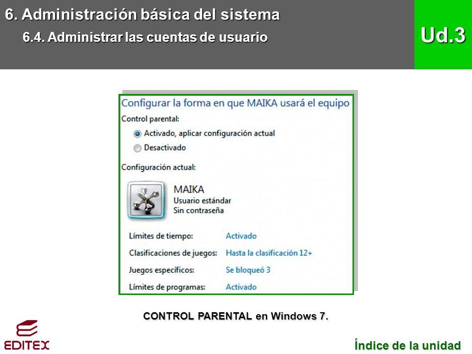 6. Administración básica del sistema 6.4. Administrar las cuentas de usuario Ud.3 Índice de la unidad Índice de la unidad CONTROL PARENTAL en Windows