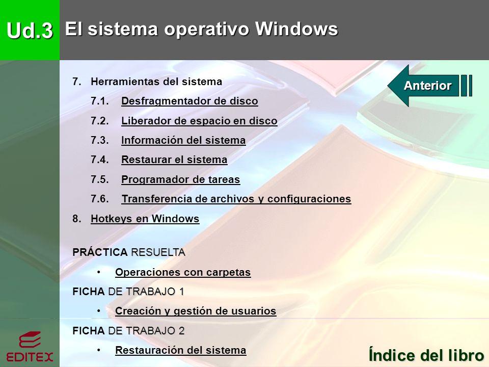 Ud.3 El sistema operativo Windows Índice del libro Índice del libro 7. Herramientas del sistema 7.1. Desfragmentador de discoDesfragmentador de disco