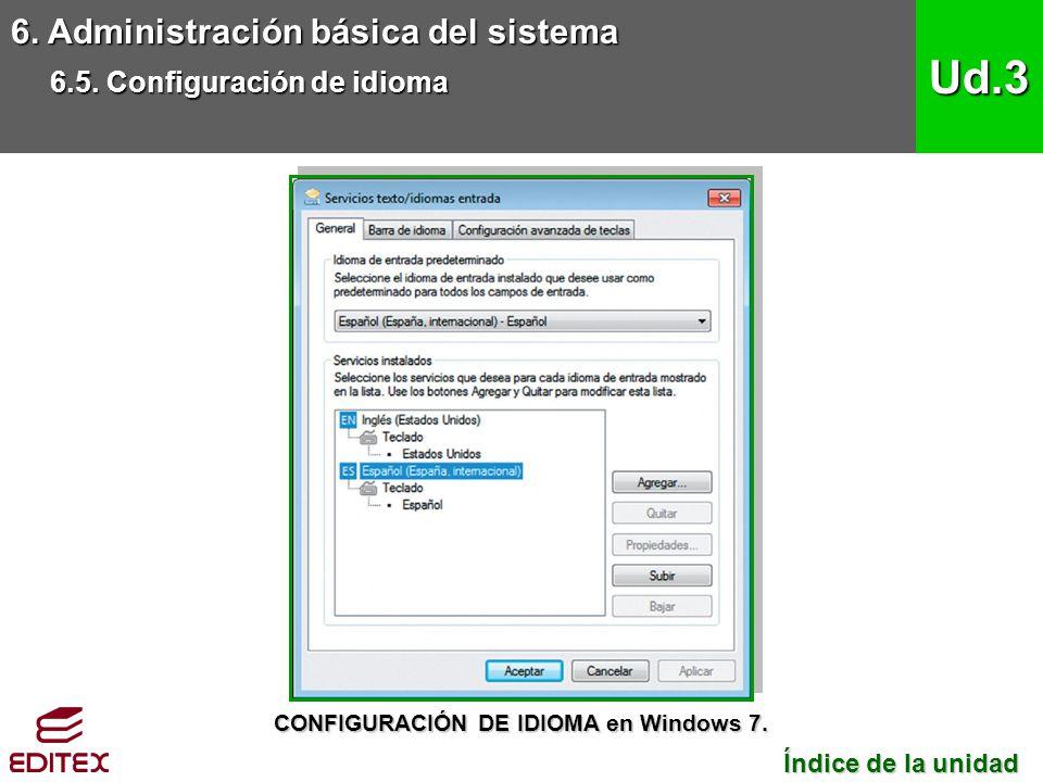 6. Administración básica del sistema 6.5. Configuración de idioma Ud.3 Índice de la unidad Índice de la unidad CONFIGURACIÓN DE IDIOMA en Windows 7.