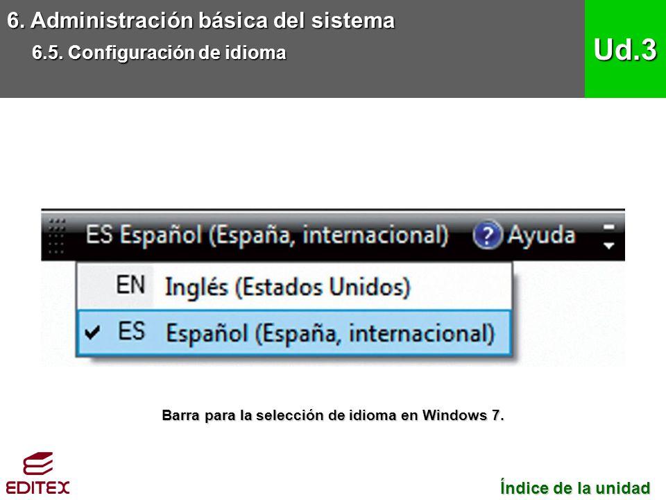 6. Administración básica del sistema 6.5. Configuración de idioma Ud.3 Índice de la unidad Índice de la unidad Barra para la selección de idioma en Wi