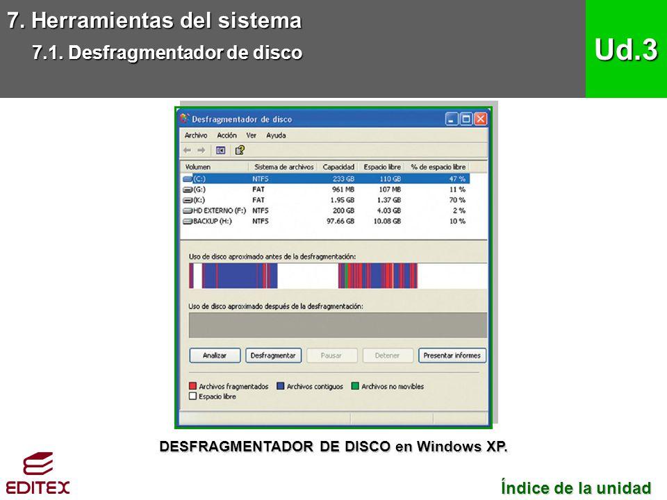 7. Herramientas del sistema 7.1. Desfragmentador de disco Ud.3 Índice de la unidad Índice de la unidad DESFRAGMENTADOR DE DISCO en Windows XP.