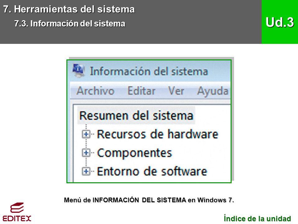 7. Herramientas del sistema 7.3. Información del sistema Ud.3 Índice de la unidad Índice de la unidad Menú de INFORMACIÓN DEL SISTEMA en Windows 7.