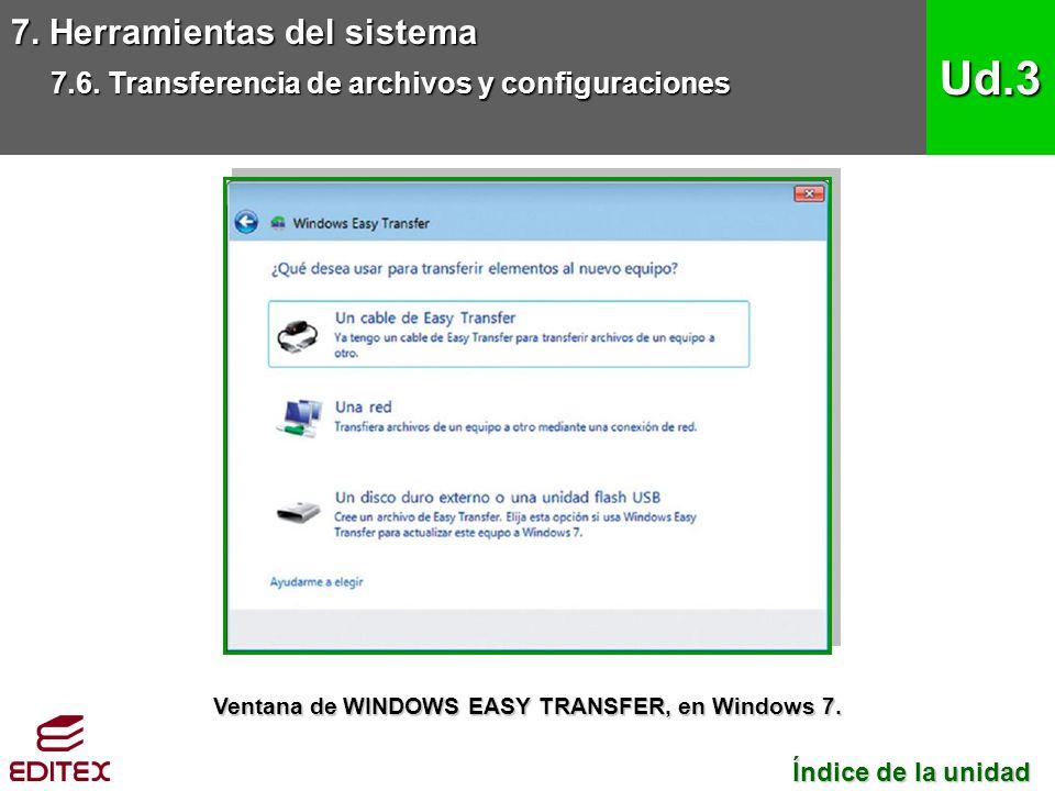 7. Herramientas del sistema 7.6. Transferencia de archivos y configuraciones Ud.3 Índice de la unidad Índice de la unidad Ventana de WINDOWS EASY TRAN
