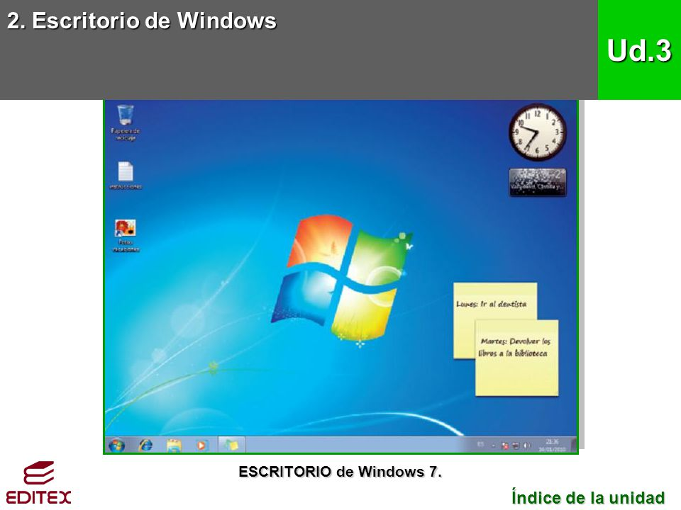2. Escritorio de Windows Ud.3 Índice de la unidad Índice de la unidad ESCRITORIO de Windows 7.