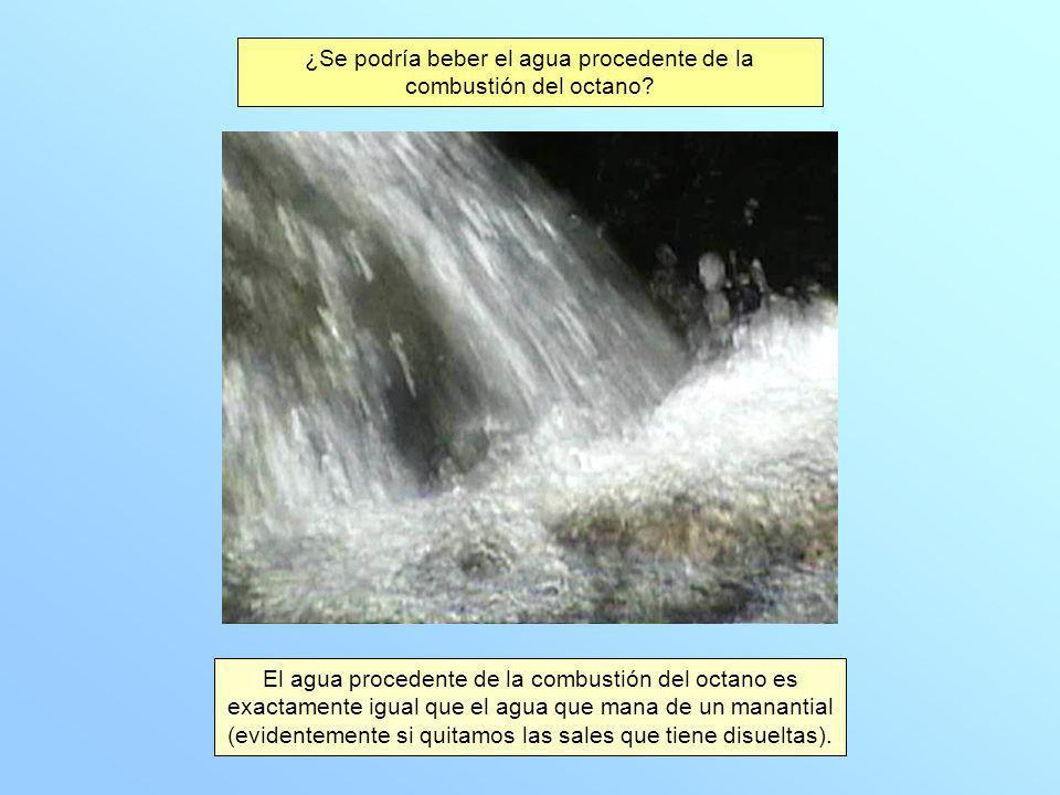 ¿Se podría beber el agua procedente de la combustión del octano.
