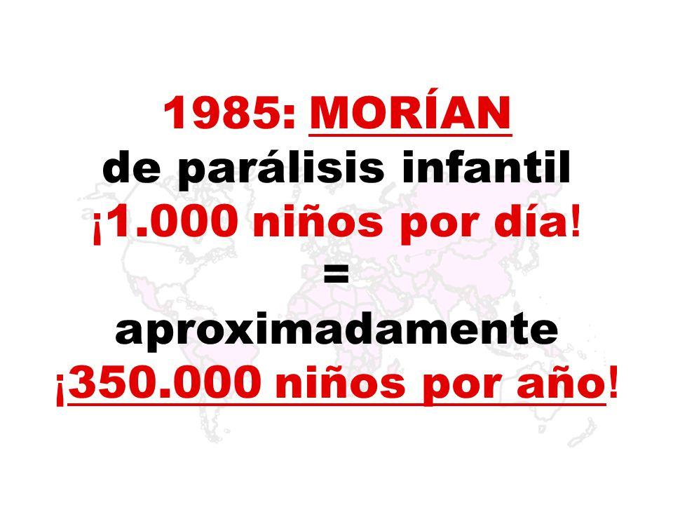 1985: Había 125 países con poliomielitis endémica.* * Endémica: Enfermedad que reina habitualmente en una zona.