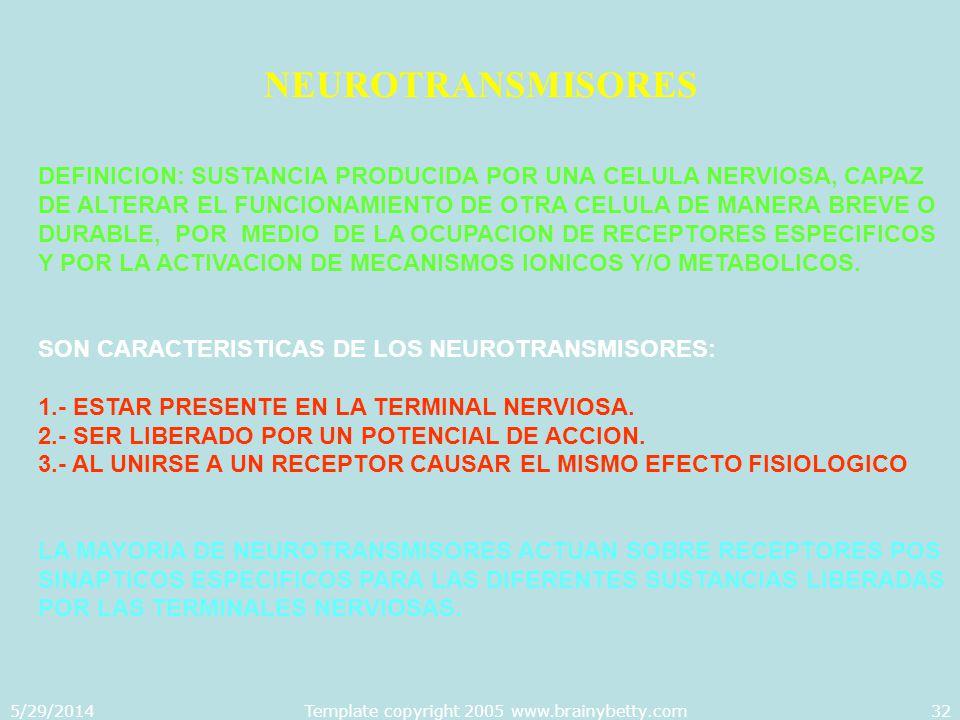 5/29/2014Template copyright 2005 www.brainybetty.com32 NEUROTRANSMISORES DEFINICION: SUSTANCIA PRODUCIDA POR UNA CELULA NERVIOSA, CAPAZ DE ALTERAR EL